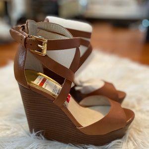 Michael Kors leather peep toe wedge heels